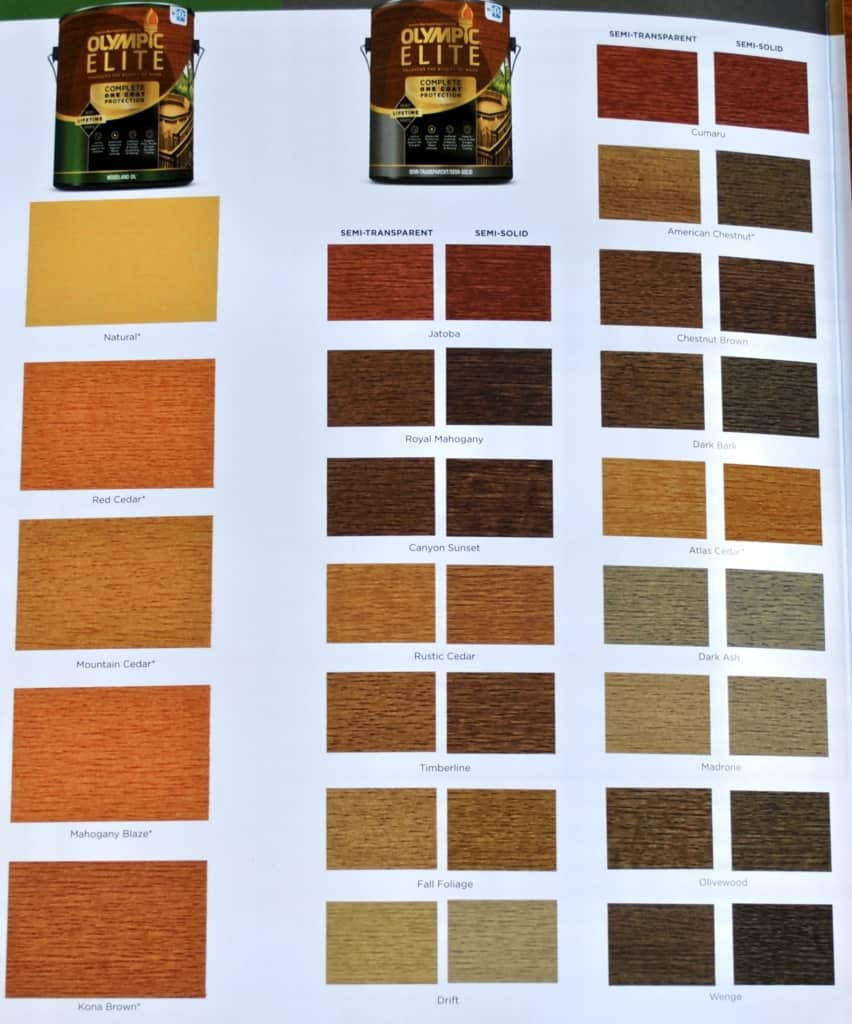 Olympic Elite Semi Transparent Color Chart